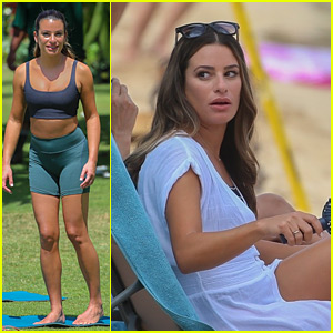 Lea Michele Does Yoga While Filming Her Christmas Movie