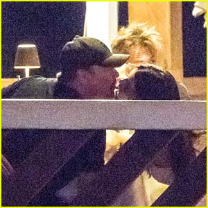 Leonardo DiCaprio & Camila Morrone Share a Kiss at Dinner With Sean Penn in Italy