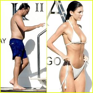 Leonardo DiCaprio & Girlfriend Camila Morrone Go for a Swim Together at Sea in Italy