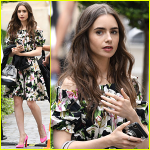 Lily Collins Films More Scenes For 'Emily in Paris' in France