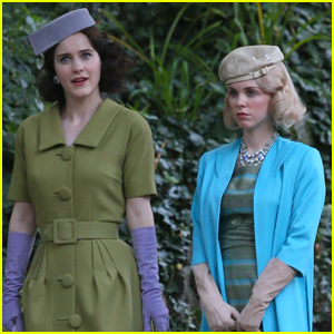 Rachel Brosnahan & Bailey De Young Film 'Marvelous Mrs. Maisel' in NYC Park