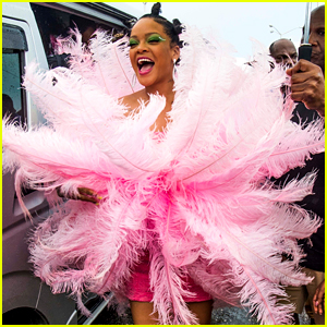 Rihanna Wows in Feathered Dress at Kadooment Day Parade!