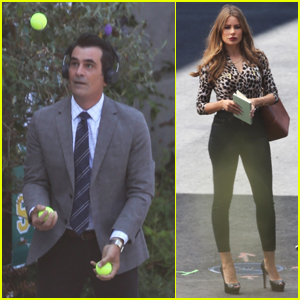 Ty Burrell Does Some Juggling on 'Modern Family' Set with Sofia Vergara!