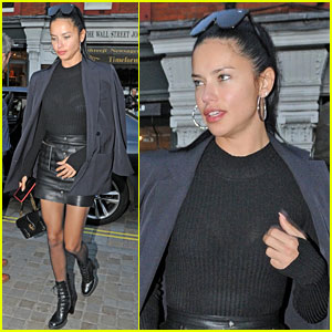 Adriana Lima Looks Chic in Black Skirt & Boots for Dinner With Friends