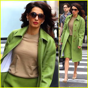Amal Clooney Goes Green While Heading to the UN in NYC