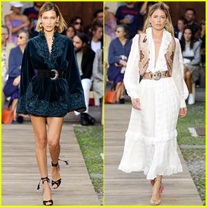 Bella Hadid Dons Velvet Mini Dress at Etro's Milan Fashion Week Show