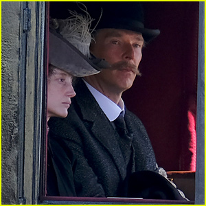 Benedict Cumberbatch Channels 'Louis Wain' While Filming in a Carriage in England