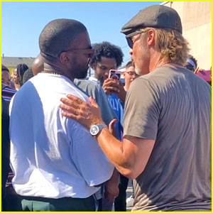 See Photos of Brad Pitt with Kanye West at Sunday Service!
