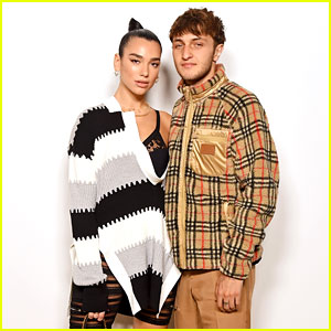 Dua Lipa & Boyfriend Anwar Hadid Watch His Sisters Walk in Burberry Show