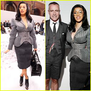 Cardi B Goes Business Chic For Thom Browne Paris Fashion Show