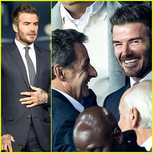 David Beckham Greets Former French President at Soccer Game in Paris