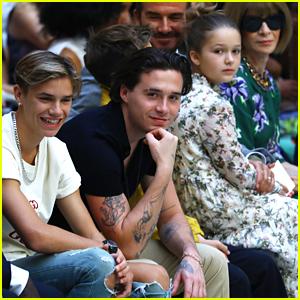David Beckham & Kids Support Victoria Beckham at London Fashion Week Show