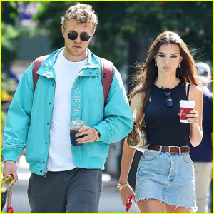 Emily Ratajkowski & Husband Sebastian Bear-McClard Couple Up to Take Their Pup For a Walk