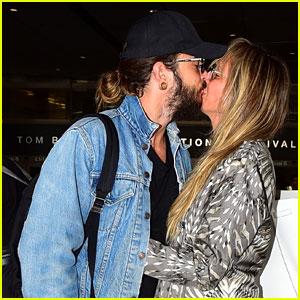 Heidi Klum & Husband Tom Kaulitz Share a Kiss at LAX Airport