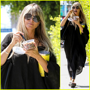 Heidi Klum Enjoys an Acai Bowl While Heading to the Salon in Beverly Hills
