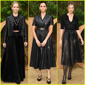 Jennifer Lawrence, Nina Dobrev & Karlie Kloss Go All Black for Dior Paris Fashion Show!