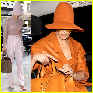 Jennifer Lopez Wears the Same Big Hat in Two Colors in Milan