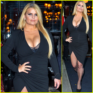 Jessica Simpson Shows Off Her Figure In A Black Dress