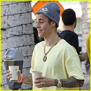 Justin Bieber Rocks Head-to-Toe Yellow for Coffee With Hailey!