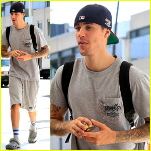 Justin Bieber Wears All Gray With Crocs While Running Errands
