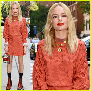 Kate Bosworth Wows in Orange Floral Dress for 'I-Land' Promo