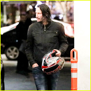 Keanu Reeves Arrives to Lunch on a Motorcycle in Beverly Hills