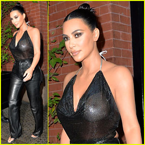 Kim Kardashian Sports Sheer Halter Top Ahead of 'Tonight Show'