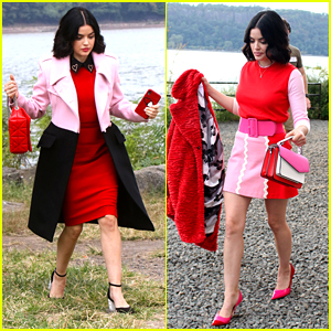 Lucy Hale Wows in Pink & Red on 'Katy Keene' Set