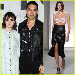 Maisie Williams & Boyfriend Reuben Selby Watch Kaia Gerber Walk in Givenchy Fashion Show in Paris