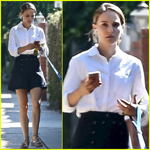 Natalie Portman Takes Her Pup For a Morning Stroll