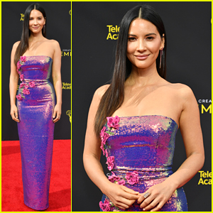 Olivia Munn Dons Iridescent Dress To Creative Arts Emmys 2019