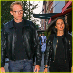Paul Bettany & Jennifer Connelly Coordinate in Leather Jackets for Dinner