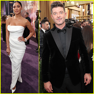 Robin Thicke & Nicole Scherzinger Attend Emmys 2019 Alongside 'Masked Singer' Co-Stars