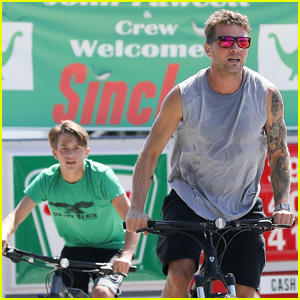Ryan Phillippe Bares Tattooed Muscles on Bike Ride with Son Deacon!