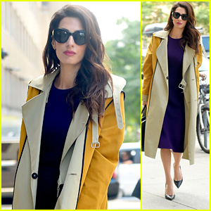 Amal Clooney Makes a Fashionable Exit in a Purple Dress in NYC