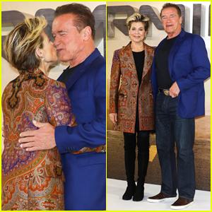 Arnold Schwarzenegger & Linda Hamilton Share Kiss at 'Terminator: Dark Fate' UK Photo Call!