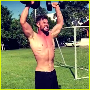 Chris Hemsworth Goes Shirtless After His Shirt 'Burst Into Flames' from the Heat (Video)