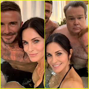Courteney Cox Joins David Beckham in a Hot Tub With 'Modern Family' Stars Eric Stonestreet & Jesse Tyler Ferguson!