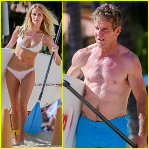 Dennis Quaid, 65, & New Fiancee Laura Savoie, 26, Show Off Ripped Bodies at the Beach