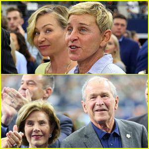 Ellen DeGeneres & Portia de Rossi Sit Next to George W. Bush & Laura Bush at Cowboys Game
