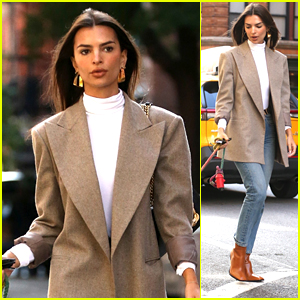 Emily Ratajkowski Looks Chic While Taking Her Pup Columbo Out for a Walk in NYC