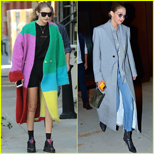 Gigi Hadid Stays Warm in Fuzzy Rainbow Coat While Out in NYC