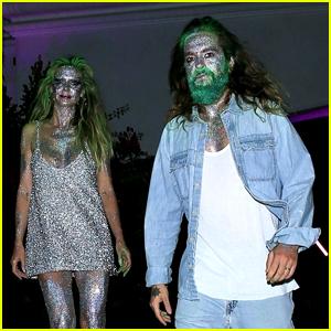 Heidi Klum & Husband Tom Kaulitz Make Out in Glittery Face Paint at Paris Hilton's Halloween Party!