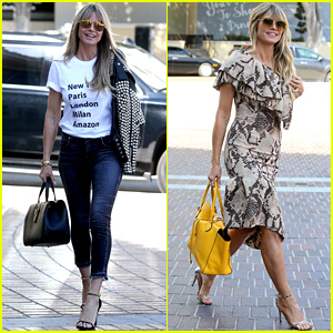 Heidi Klum Shows Off Two Chic Looks for 'AGT' Filming