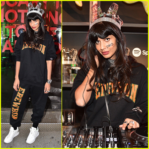Jameela Jamil Gets Into the Halloween Spirit at Spotfy Costume Pop-Up Event!