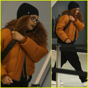 Janet Jackson Bundles Up for Flight Out of JFK Airport