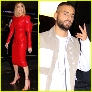 Jennifer Lopez Wears Red, Leather Dress While Filming 'Marry Me' with Maluma
