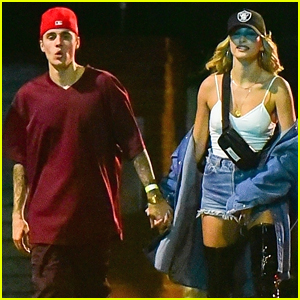Justin & Hailey Bieber Hold Hands at Beverly Hills Party