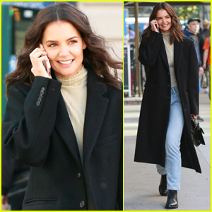 Katie Holmes Shares a Laugh While Talking a Phone Call in NYC