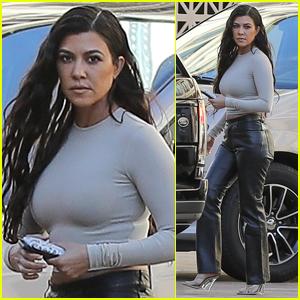 Kourtney Kardashian Rocks Leather Pants While Filming 'KUWTK' in L.A.